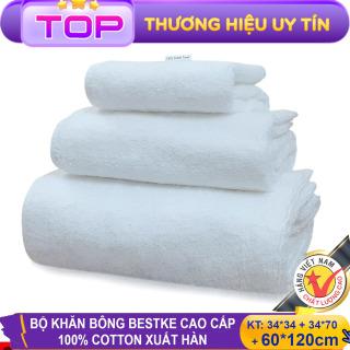 Bộ Khăn Bông Bestke Cao Cấp 100% Cotton Xuất Khẩu Hàn Quốc, Màu Trắng - B-b3ktr70120 thumbnail