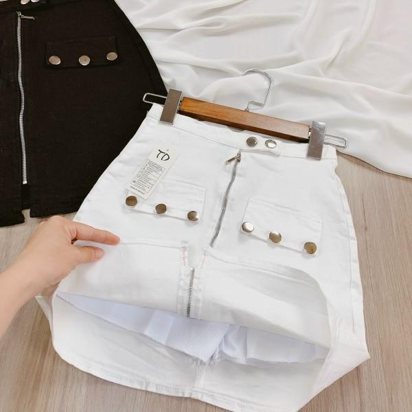 Váy kaki 6 NÚT dây kéo giữa- túi đính nút cực hot- phối đồ cực chất