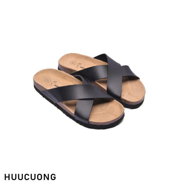 Dép HuuCuong quai chéo đen đế trấu giá rẻ