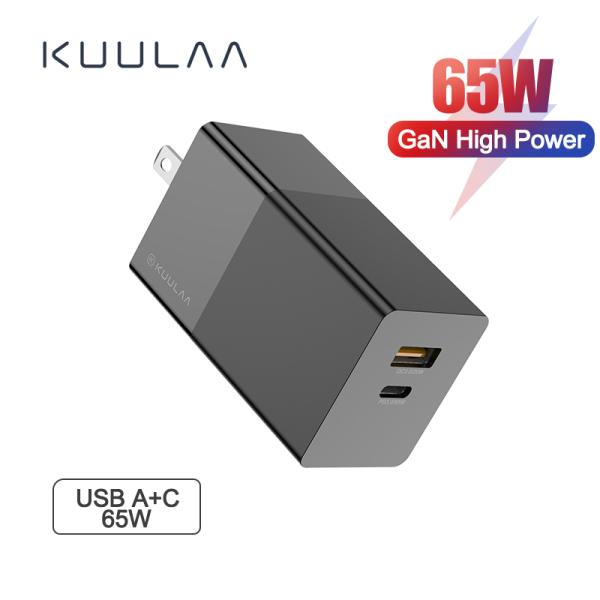 KUULAA Bộ sạc USB nhanh GaN PD 3.0 của Mỹ cho iPhone 11 Pro Hỗ trợ tối đa AFC FCP SCP QC 3.0 cho Samsung S10 Plus Bộ sạc USB nhanh 65W của Mỹ