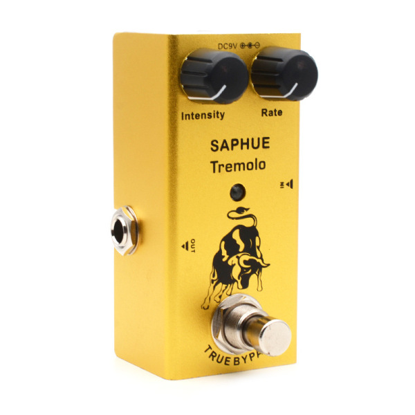 SAPHUE Electric Guitar Tremolo Intensity/Rate Knob Effect Pedal Mini Single Type DC 9V True Bypass