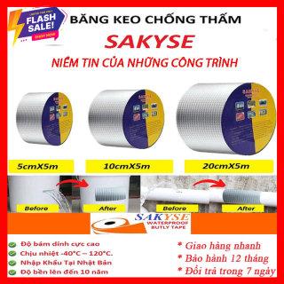 [Kích thước 5cm x 5m]Băng keo siêu dính Nhật Bản SAKYSE chống dột cho tường, trần nhà, mái tôn, ống nước, bể nước, xô chậu,phao, bể bơi,đồ bơm giá rẻ hơn keoX2000, băng keo X2000, băng keo Doconu, Flex Tape, Băng Keo Nano thumbnail
