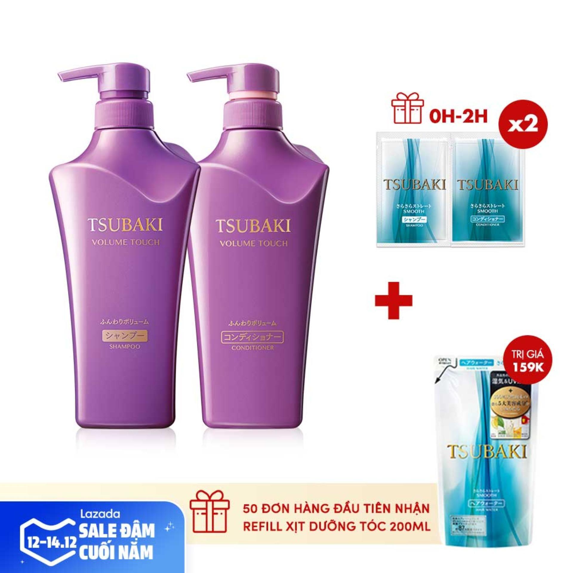 Bộ đôi dầu gội và dầu xả ngăn rụng tóc tsubaki volume Touch 500ml/chai giá rẻ