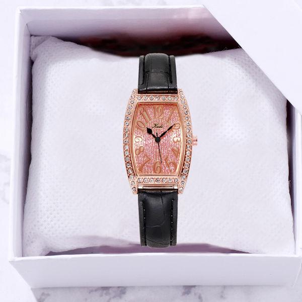 Kudi Female Student Korean Style Diamond-Embedded Fashion SimpleinsSmall Square Watch Waterproof Quartz Belt Watch