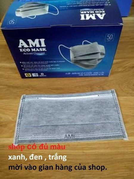 Khẩu trang y tế 4 lớp Ami  kháng khuẩn màu xám ( hộp 50 chiếc)