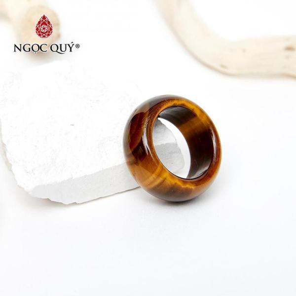 Nhẫn Đá Thạch Anh Mắt Hổ Vàng Nâu Mệnh Thổ Kim - Ngọc Qúy Gemstones