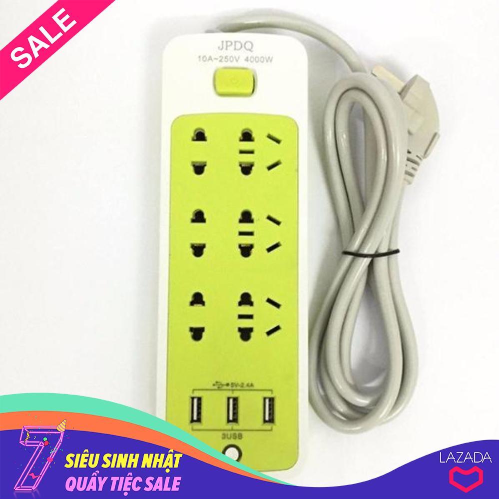 Ổ cắm điện thông minh JPDQ 4000W (6 phích căm, 3 USB) giá rẻ