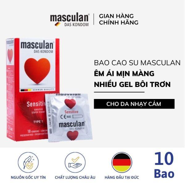 Hộp 10 Bao cao su Đức Masculan Sensitive - Dành cho da nhạy cảm - Bề mặt mềm mượt tăng khoái cảm