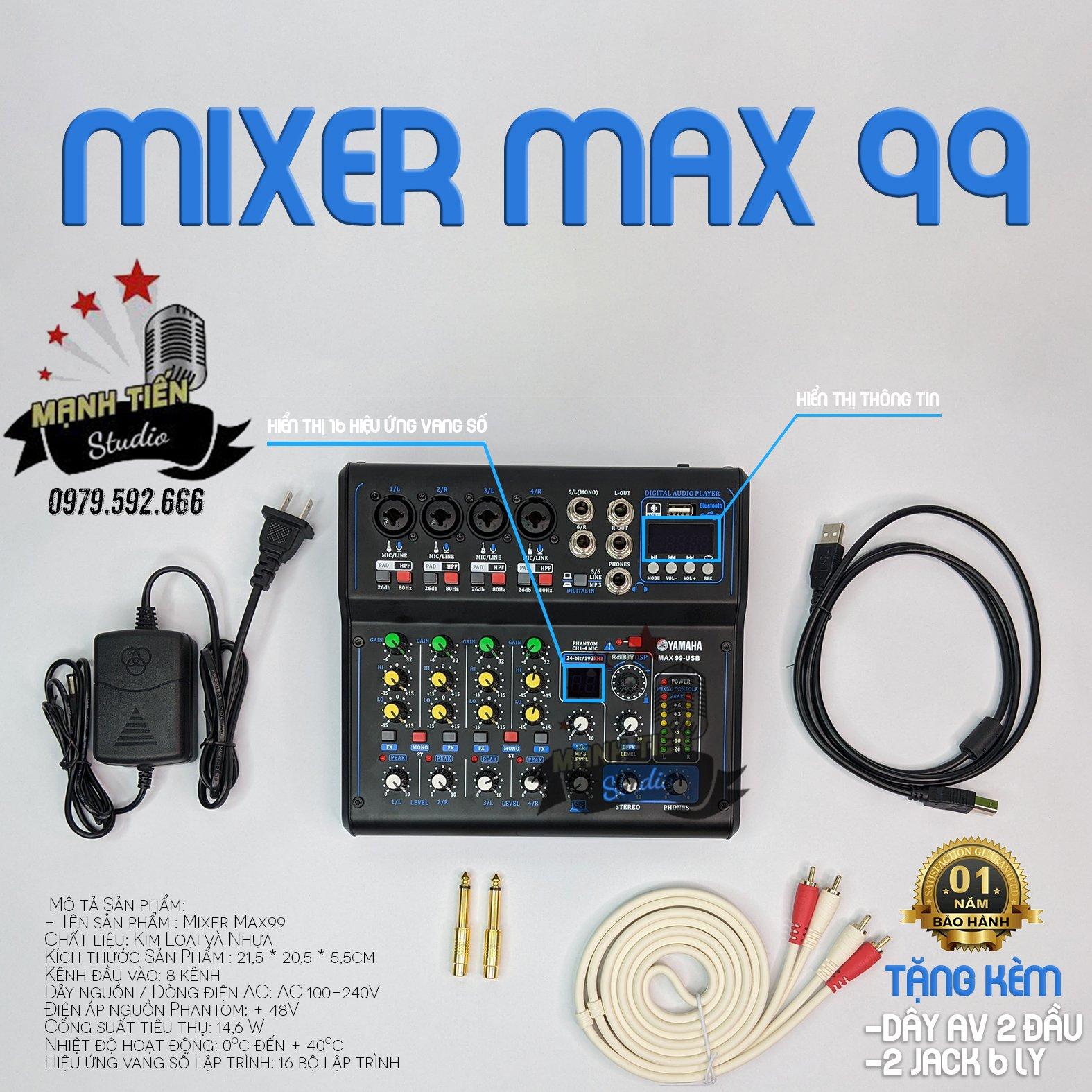 [tặng kèm dây hoa sen AV + 2 jack 6 ly] Bàn trộn âm thanh Mixer Yamaha Max 99-USB bluetooth 16 chế độ vang karaoke livestream tuyệt vời