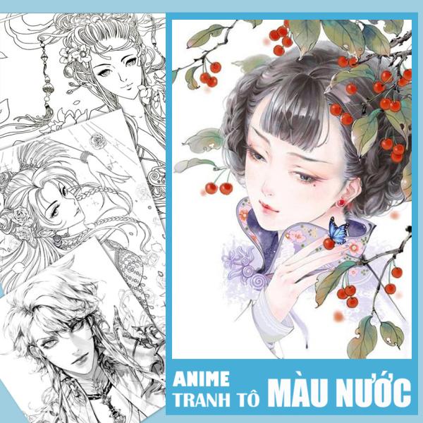 Mua Bộ tranh tô Màu Nước Anime khổ A4, A5 - Chất giấy màu nước dày đẹp, định lượng 180gsm