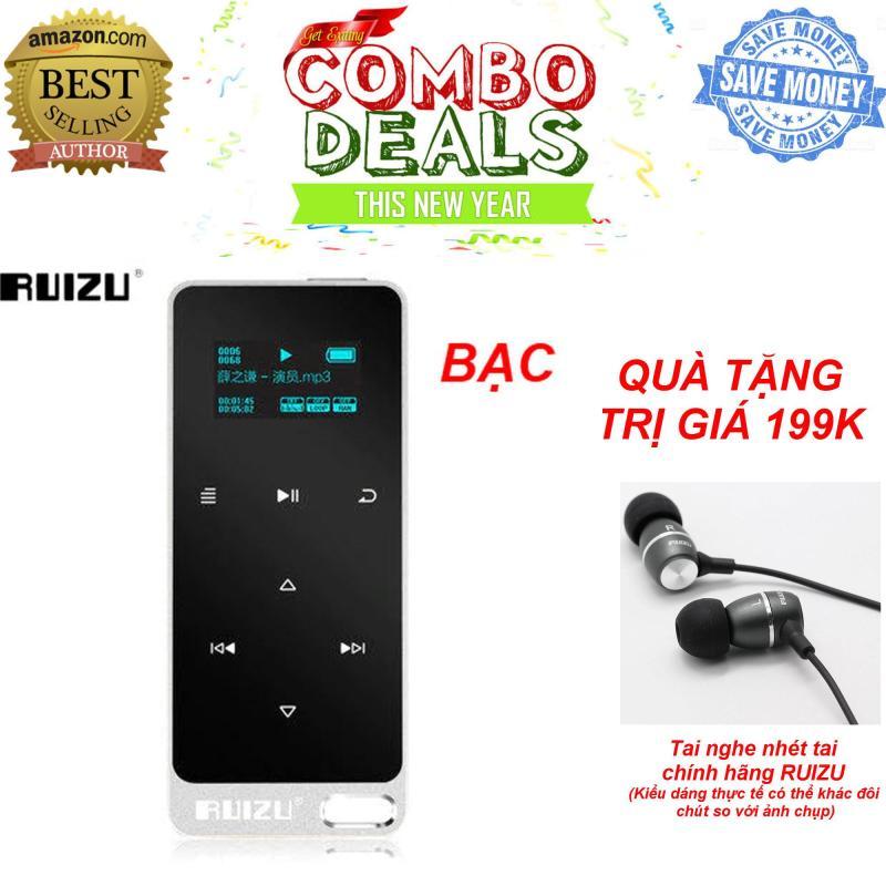 Máy ghi âm, nghe nhạc MP3 Lossless RUIZU X05 (Bạc) [Công ty nhập khẩu và phân phối] - Bảo hành 6 tháng lỗi đổi mới + TẶNG tai nghe nhét tai RUIZU chất lượng cao trị giá 199K