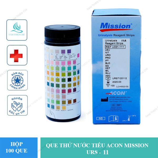Que thử nước tiểu Acon Mission 11 thông số, hộp 100 test