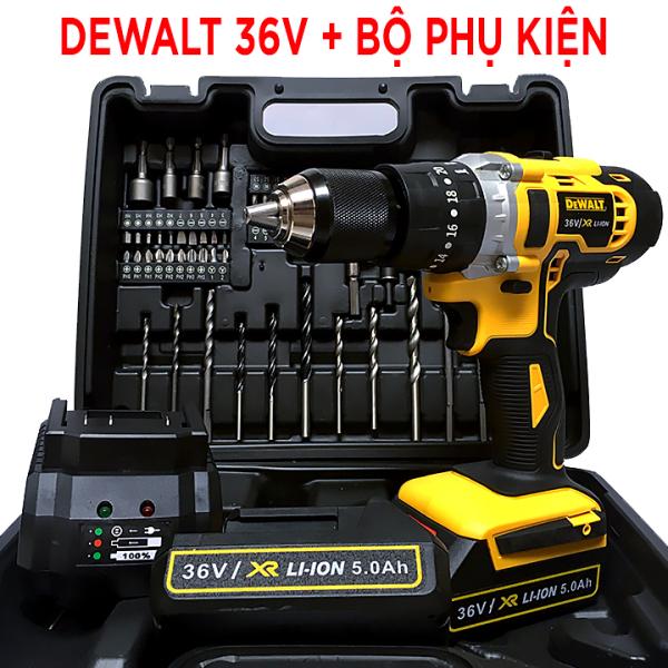 [ Tặng bộ phụ kiện 70 chi tiết ] Máy khoan pin Dewalt 36V khoan gỗ , khoan kim loại , bắt vít - Máy khoan pin cực khỏe, công suất lớn - PIN 5 CELL - ĐẦU AUTOLOCK 13MM - máy khoan pin - khoan pin - Máy khoan cầm tay - Máy bắn vít