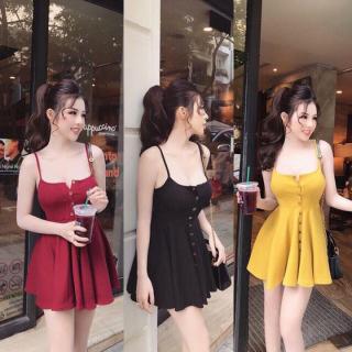 Đầm nữ 2 dây cúc gỗ chân váy xòe thời trang XIXO cao cấp - chất thun gân mềm mịn co giãn -- váy body 2 dây - Đầm dạ hội - Đầm dự tiệc - đầm body - váy nữ thumbnail