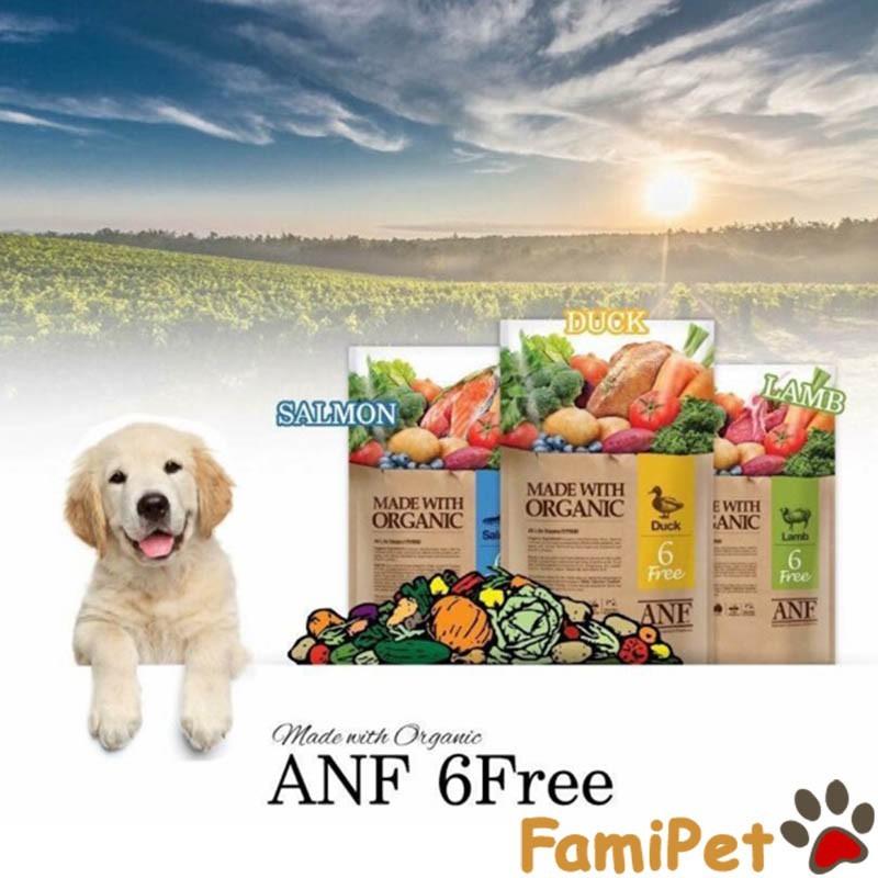 Thức ăn hạt hữu cơ ANF túi 2kg cho chó - Vị cừu, vịt và cá hồi