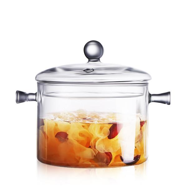 Oneisall Nồi Súp Sáng Tạo 1.5L Nồi Thủy Tinh Trong Suốt Salad Bát Mì Ăn Liền Có Nắp Nồi Nấu Ăn Thủ Công Dụng Cụ Đồ Dùng Nhà Bếp
