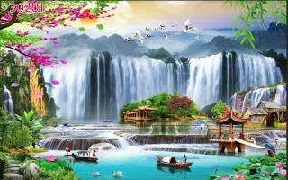 Tranh dán tường 3D Phòng Khách, Sơn Thủy Hữu Tình, 201 thumbnail