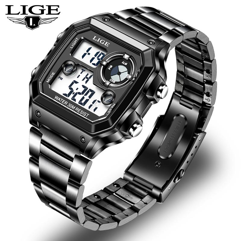 LIGE 2021 đồng hồ nam Đồng hồ kỹ thuật số ashion Thể thao chống nước phát sáng đa chức năng dong ho nam + Hộp miễn phí