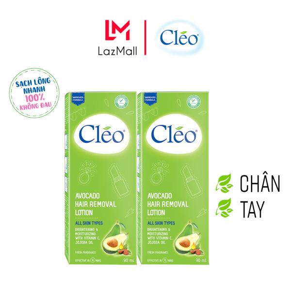 Combo 2 Hộp Kem tẩy lông chiết xuất bơ Cleo dạng sữa vùng tay chân dành cho mọi loại da 90mlx2, an toàn, không đau và đạt hiệu quả nhanh chóng cao cấp