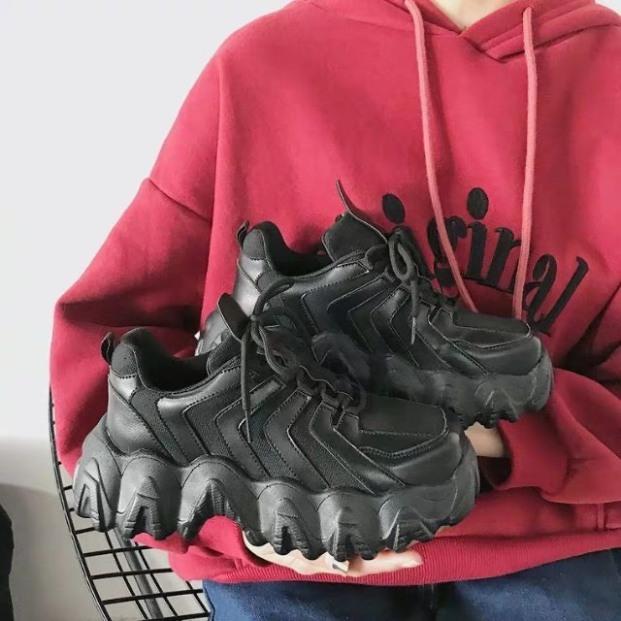 [HOT 2020] Giày thể thao nữ Ulzzang E.y.t.y nâng độn đế cao 5cm răng cưa to mềm thoáng cá tính năng động màu đen trơn/kem đơn giản sneaker hot trend độc đáo dễ phối đồ da mềm - YUMISHOES  [VIDEO + ẢNH THẬT] giá rẻ