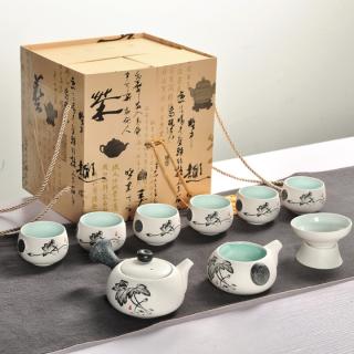 [SALE KHO] Bộ ấm trà kiểu Nhật họa tiết hoa sen gốm sứ cao cấp có hộp đựng sang trọng thumbnail
