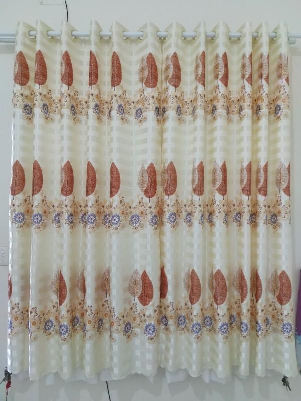 Rèm cửa sổ, cửa phòng ngủ chống nắng 80% giá rẻ, hoạ tiết lá phong TNS-013