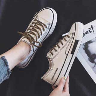 Giày Vải PWAE, Giày Thể Thao Nữ Hàn Quốc Màu Trắng Mới Giày Vải Ins, Nữ Màu Đen
