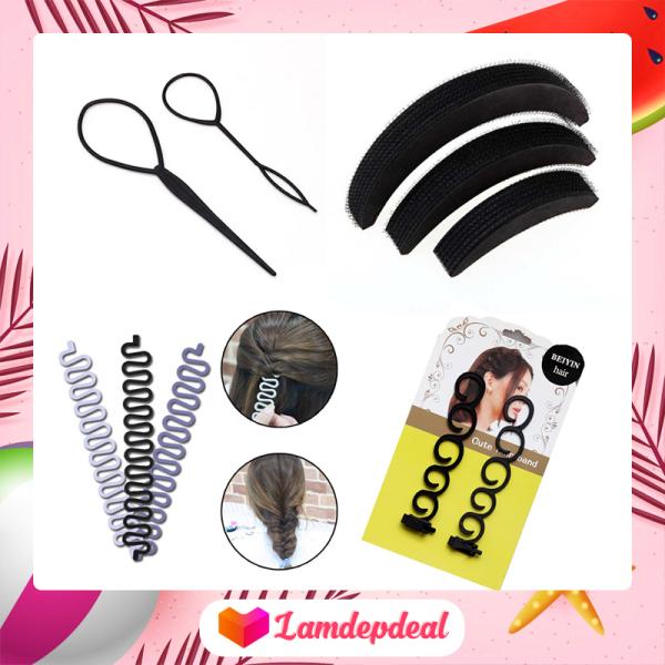 ♥ Lamdepdeal - Combo 4 dụng cụ tạo kiểu tóc cho bạn gái thoải thích sáng tạo kiểu tóc cho riêng mình - Dụng cụ tết tóc, thắt bím tóc - Dụng cụ làm tóc