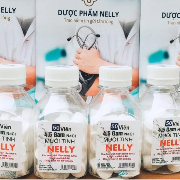 Viên muối Nelly Natri 0,9% (nước muối sinh lý) giúp vệ sinh mũi miệng (50 viên) giá rẻ