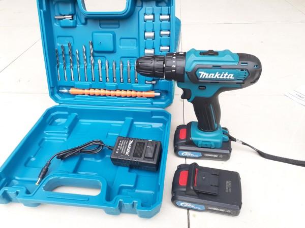 Máy khoan pin có BÚA makita 26v. (kèm 2pin và nhiều phụ kiện)