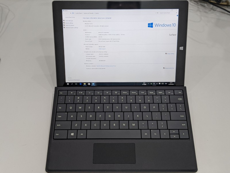 Máy tính bảng Microsoft Surface 3 10.8inch, Bộ nhớ Ram 4GB, Rom 64GB SSD, Chạy Windows 10 Pro, Vi xử lí lõi tứ Intel Atom x7-Z8700 | Sử dụng liên tục 10 tiếng