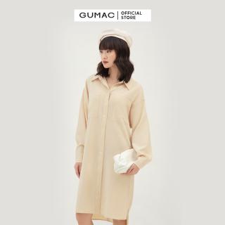 Đầm nữ suông phối 2 túi GUMAC DB389 Chất Liệu Vải LINEN sơ mi form rộng style thanh lịch( có mẫu thực tế) thumbnail