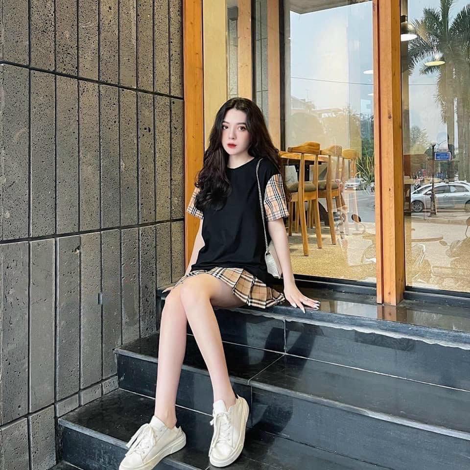 Set bộ áo thun phối chân váy phối BUBERY, set bộ caro đen, trắng