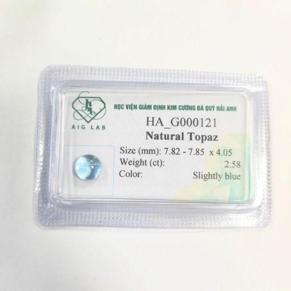 Mặt đá Topaz tự nhiên - 2.58ct - Viên rời - Ép vỉ niêm phong - HA-G000121