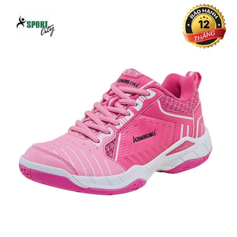 Giày cầu lông Kawasaki K162 Pink êm ái, thoáng khí, hàng có sẵn, dành cho nữ, màu hồng, đủ size - Giày bóng chuyền nữ - Giày đánh cầu lông - shop sportcity giá rẻ
