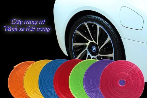 Cuộn dây chỉ viền sợi dán trang trí và bảo vệ vành mâm lazang ô tô xe hơi cao cấp dài 8M