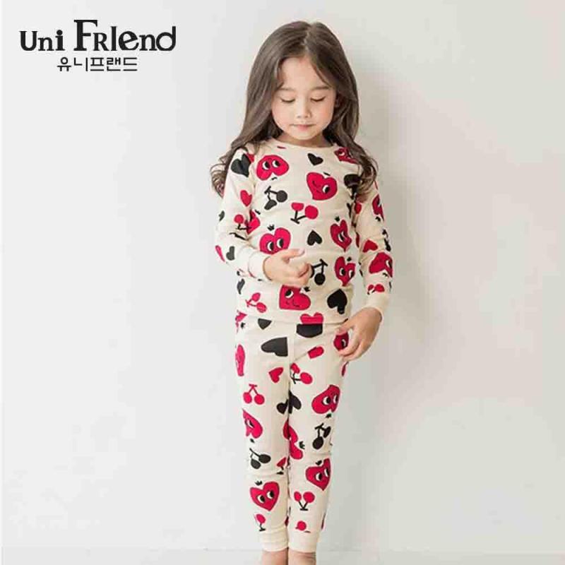 Nơi bán Đồ bộ mặc nhà bé gái Unifriend thun dài hoạ tiết trái tim U8FWTD04
