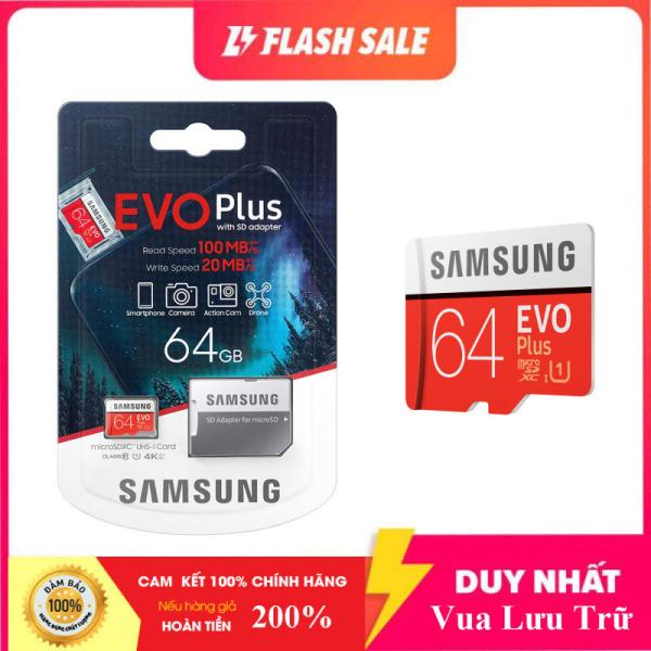 [New 2021] Thẻ nhớ MicroSDXC Samsung Evo Plus 64GB U3 4K- W60MB-R100MB - box Anh New 2020 (Đỏ) + Kèm Adapter