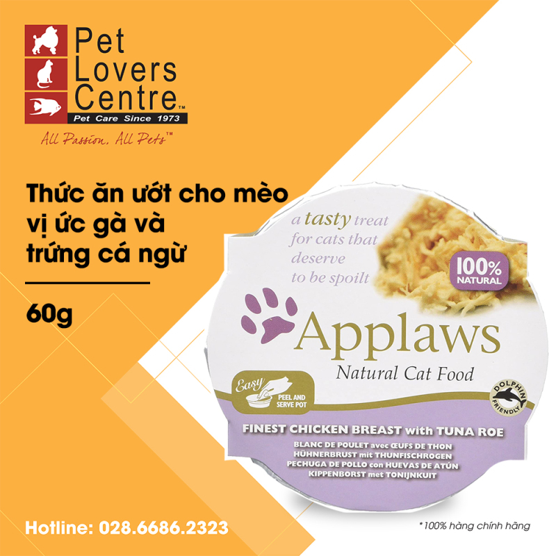 THỨC ĂN ƯỚT CHO MÈO APPLAWS  POT FINEST CHICKEN BREAST WITH TUNA ROE (CATS) 60g