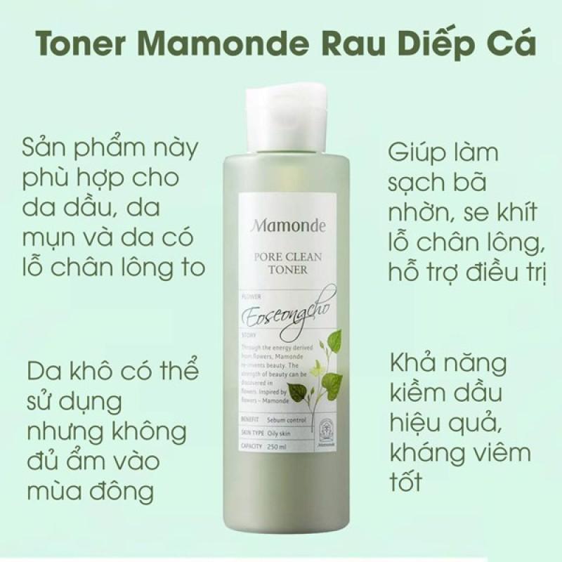 Nước Hoa Hồng Rau Diếp Cá Mamonde Pore Clean Toner 250ml. giá rẻ
