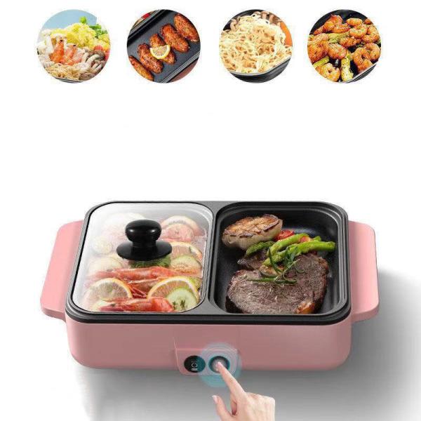Bếp Nướng Lẩu 2 In 1 Mini Gia Đình- Bếp Điện Đa Năng,  Nồi Lẩu Nướng Hàn Quốc Thông Minh 2 Ngăn Chống Dính Tiện Lợi 2-5 Người Ăn, Tiết Kiệm Năng Lượng