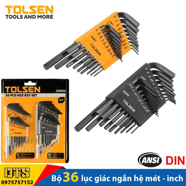 Bộ lục giác đầu bằng 36 món ngắn dài hệ mét hệ inch công nghiệp TOLSEN, bộ khóa lục giác thép cứng cao cấp CR-V xử lý đen bề mặt, thiết kế tay chữ L tối ưu, dễ vặn bulong ốc vít, bộ lục giác chìm đa năng bộ lục giác hệ inch