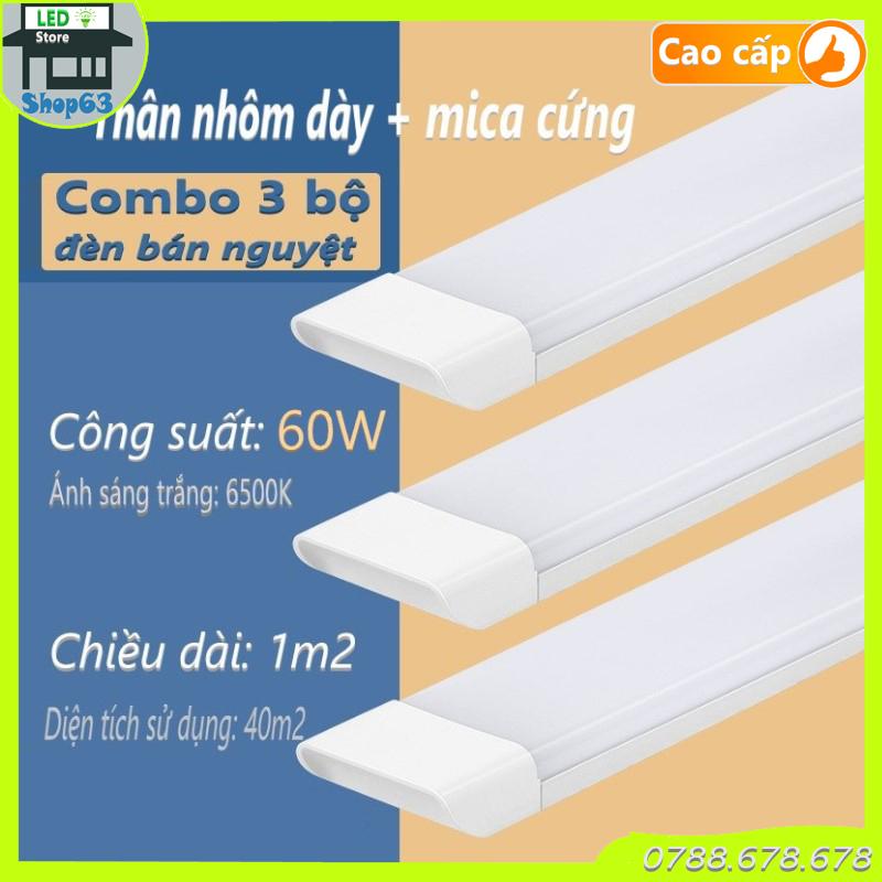 Combo 3 bộ đèn bán nguyệt vuông 60W (đèn tuýp mica 1m2 - thân nhôm cao cấp siêu bền siêu sáng  bao sáng nhất thị trường - bảo hành 2 năm)