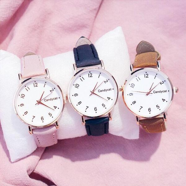 Đồng hồ thời trang nữ Candycat mặt số dây nhung cực hot V754