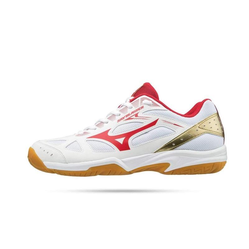 Giày cầu lông chuyên dụng Mizuno Sky Blaster chống trơn trượt dành cho nam màu trắng phối đỏ