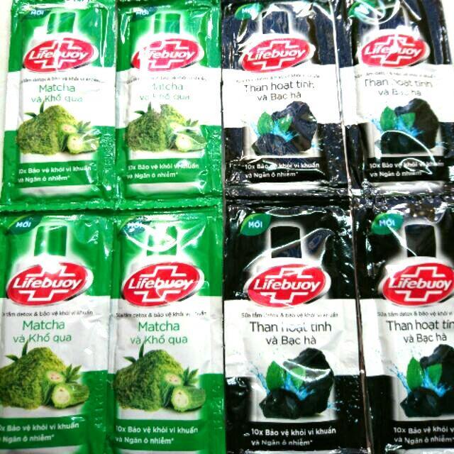 Combo 50 gói sữa tắm lifebuoy 6g/gói ( 25 gói  lifebuoy matcha khổ qua + 25 gói lifebuoy than hoạt tính) + Tặng 4 gói dầu gọi clear thảo dược 6g/gói cao cấp