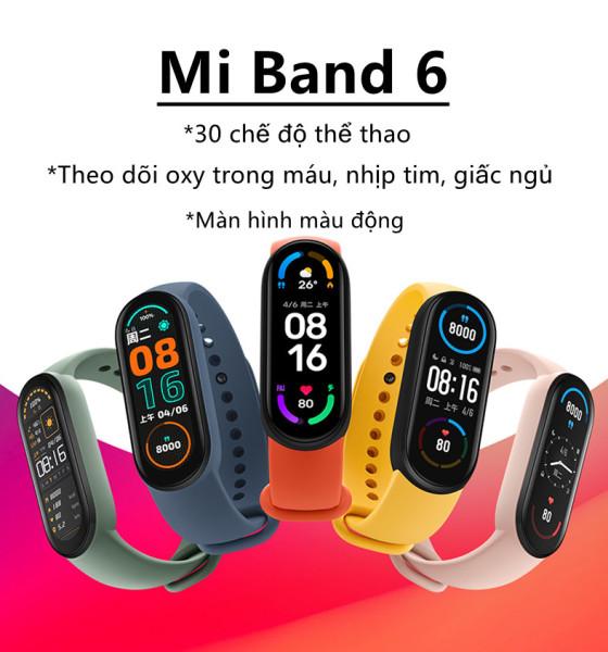 [ Sẵn hàng ] Vòng đeo tay thông minh Xiaomi Mi band 6 - Vòng tay theo dõi sức khoẻ, tập luyện thể thao - Màu đen