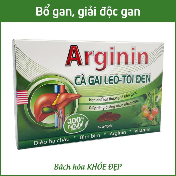 Viên uống bổ gan Arginin 600 giải độc gan, hạ men gan - Hộp 60 viên thành phần cà gai leo, diệp hạ châu