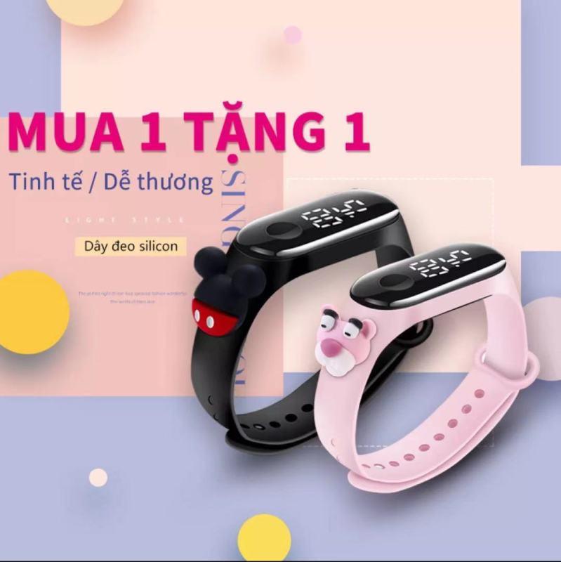 Nơi bán (Mua 1 tặng 1)Đồng hồ điện tử bấm giờ đa năng, dáng thể thao chống nước, đồng hồ hoạt hình 3D cho trẻ, đồng hồ nữ xinh xắn, dây đeo đồng hồ đẹp cho MiBand