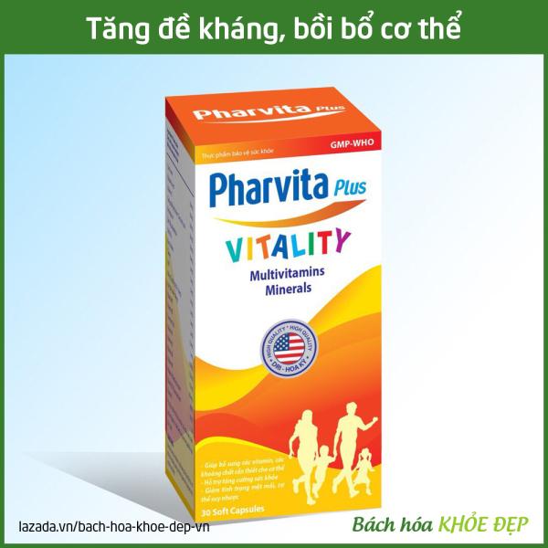 Viên uống vitamin tổng hợp Pharvita Plus bồi bổ cơ thể, tăng cường sức đề kháng, giảm mệt mỏi suy nhược - Chai 30 viên dùng cho người từ 6 tuổi